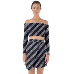 Stripes3 Black Marble & Gray Stone Off Shoulder Top With Skirt Set