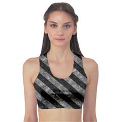 Stripes3 Black Marble & Gray Stone (r) Sports Bra