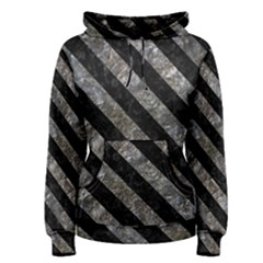 Stripes3 Black Marble & Gray Stone (r) Women s Pullover Hoodie