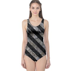 Stripes3 Black Marble & Gray Stone (r) One Piece Swimsuit