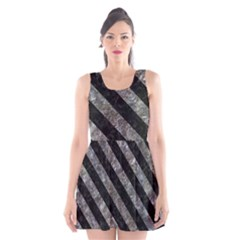 Stripes3 Black Marble & Gray Stone (r) Scoop Neck Skater Dress