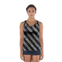Stripes3 Black Marble & Gray Stone (r) Sport Tank Top