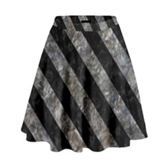 Stripes3 Black Marble & Gray Stone (r) High Waist Skirt