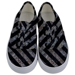 Stripes3 Black Marble & Gray Stone (r) Kids  Classic Low Top Sneakers
