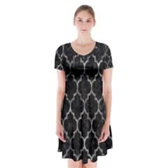 Tile1 Black Marble & Gray Stone Short Sleeve V Neck Flare Dress