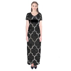 Tile1 Black Marble & Gray Stone Short Sleeve Maxi Dress