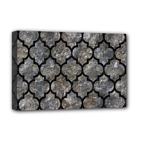 Tile1 Black Marble & Gray Stone (r) Deluxe Canvas 18  X 12