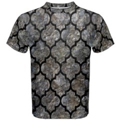 Tile1 Black Marble & Gray Stone (r) Men s Cotton Tee
