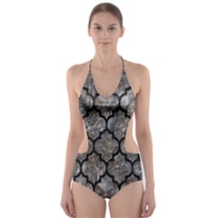 Tile1 Black Marble & Gray Stone (r) Cut Out One Piece Swimsuit