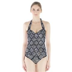 Tile1 Black Marble & Gray Stone (r) Halter Swimsuit