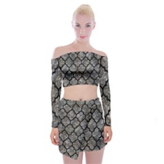 Tile1 Black Marble & Gray Stone (r) Off Shoulder Top With Mini Skirt Set