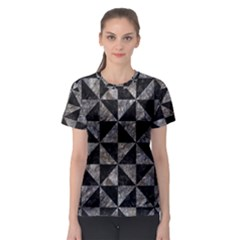 Triangle1 Black Marble & Gray Stone Women s Sport Mesh Tee