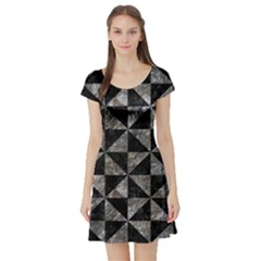 Triangle1 Black Marble & Gray Stone Short Sleeve Skater Dress