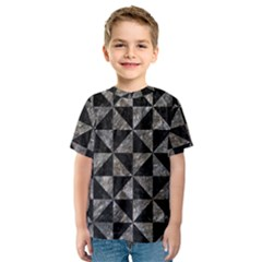 Triangle1 Black Marble & Gray Stone Kids  Sport Mesh Tee
