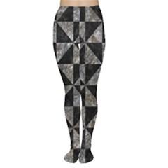 Triangle1 Black Marble & Gray Stone Women s Tights