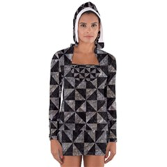 Triangle1 Black Marble & Gray Stone Long Sleeve Hooded T Shirt