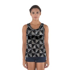 Triangle1 Black Marble & Gray Stone Sport Tank Top