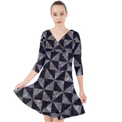 Triangle1 Black Marble & Gray Stone Quarter Sleeve Front Wrap Dress