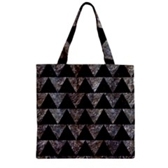 Triangle2 Black Marble & Gray Stone Zipper Grocery Tote Bag