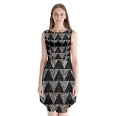 Triangle2 Black Marble & Gray Stone Sleeveless Chiffon Dress
