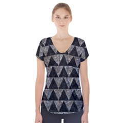 Triangle2 Black Marble & Gray Stone Short Sleeve Front Detail Top