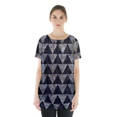 Triangle2 Black Marble & Gray Stone Skirt Hem Sports Top
