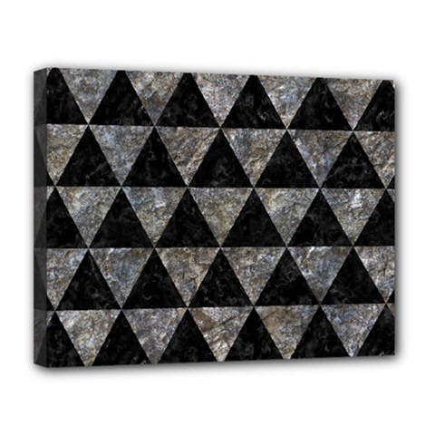 Triangle3 Black Marble & Gray Stone Canvas 14  X 11