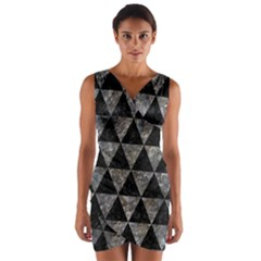 Triangle3 Black Marble & Gray Stone Wrap Front Bodycon Dress