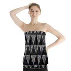 Triangle3 Black Marble & Gray Stone Strapless Top