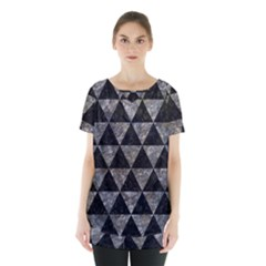 Triangle3 Black Marble & Gray Stone Skirt Hem Sports Top