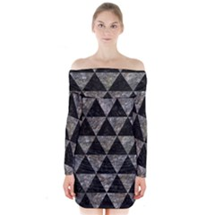 Triangle3 Black Marble & Gray Stone Long Sleeve Off Shoulder Dress