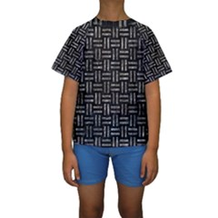 Woven1 Black Marble & Gray Stone Kids  Short Sleeve Swimwear