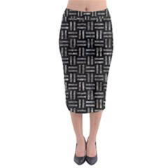 Woven1 Black Marble & Gray Stone Midi Pencil Skirt