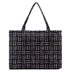 Woven1 Black Marble & Gray Stone Zipper Medium Tote Bag