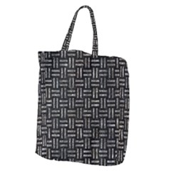 Woven1 Black Marble & Gray Stone Giant Grocery Zipper Tote