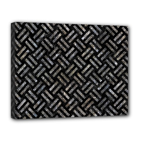 Woven2 Black Marble & Gray Stone Canvas 14  X 11