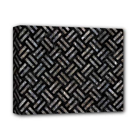 Woven2 Black Marble & Gray Stone Deluxe Canvas 14  X 11
