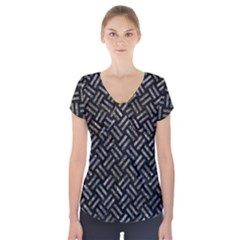 Woven2 Black Marble & Gray Stone Short Sleeve Front Detail Top