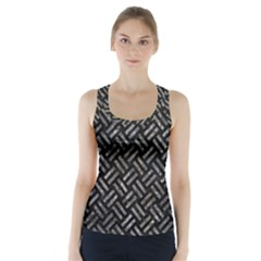Woven2 Black Marble & Gray Stone Racer Back Sports Top