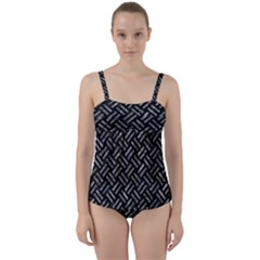 Woven2 Black Marble & Gray Stone Twist Front Tankini Set