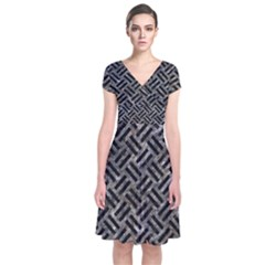 Woven2 Black Marble & Gray Stone (r) Short Sleeve Front Wrap Dress