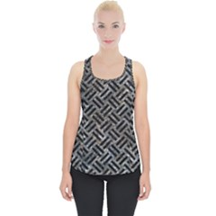 Woven2 Black Marble & Gray Stone (r) Piece Up Tank Top