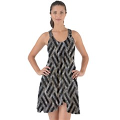 Woven2 Black Marble & Gray Stone (r) Show Some Back Chiffon Dress