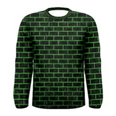 Brick1 Black Marble & Green Brushed Metal Men s Long Sleeve Tee