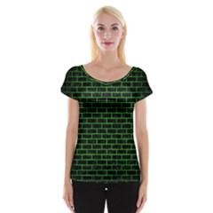 Brick1 Black Marble & Green Brushed Metal Cap Sleeve Tops