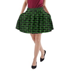 Brick1 Black Marble & Green Brushed Metal A Line Pocket Skirt