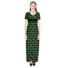 Brick1 Black Marble & Green Brushed Metal Short Sleeve Maxi Dress