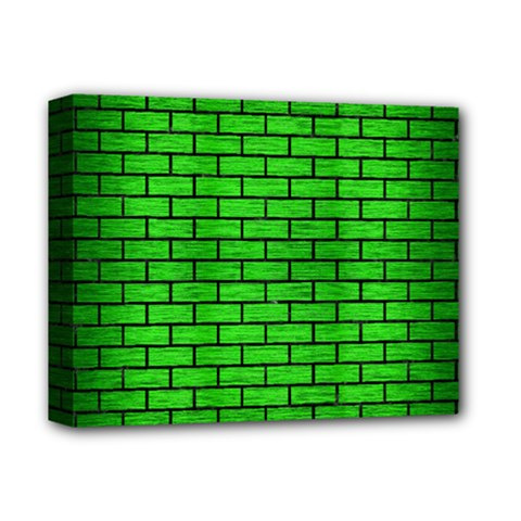 Brick1 Black Marble & Green Brushed Metal (r) Deluxe Canvas 14  X 11