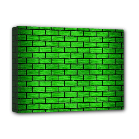 Brick1 Black Marble & Green Brushed Metal (r) Deluxe Canvas 16  X 12