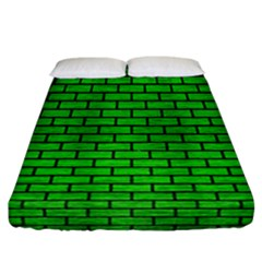 Brick1 Black Marble & Green Brushed Metal (r) Fitted Sheet (california King Size)